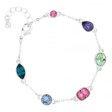 Silver Multi Colour Bracelet Embellished With Swarovski® Crystal