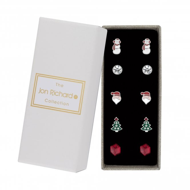 Multi Colour Crystal Christmas Stud Earring Set