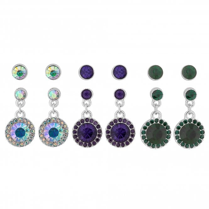 Multi Colour Crystal Halo Earring Set