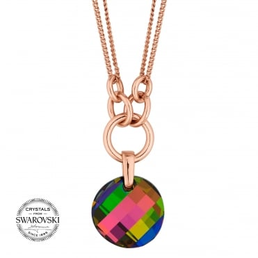Multi colour disc necklace MADE WITH SWAROVSKI CRYSTALS