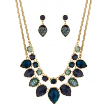 Multi row necklace and earring set