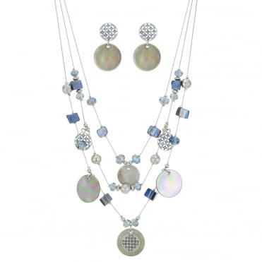 Multi row shell necklace and earring set