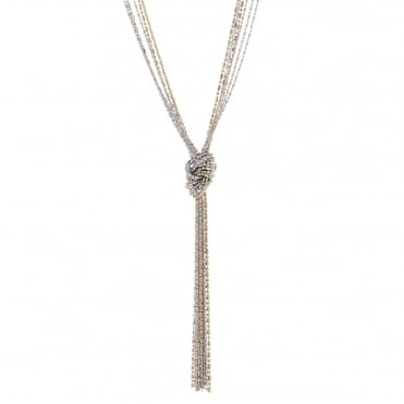 Multi tone beaded knot lariat necklace