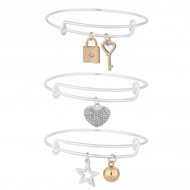 Multi Tone Charm Bracelet Set