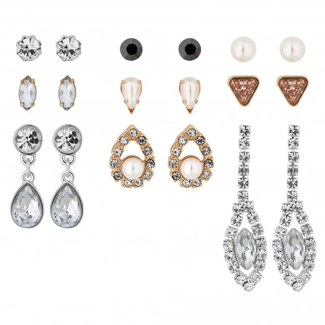 Multi Tone Crystal And Pearl Earring Set