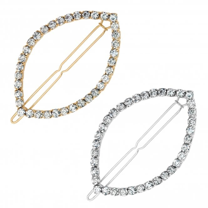 Multi Tone Crystal Open Hair Slide Set