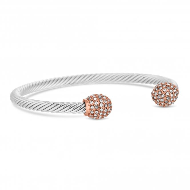 Multi Tone Crystal Pave Ball Rope Cuff Bangle
