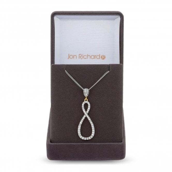Multi Tone Cubic Zirconia Encrusted Infinity Pendant Necklace