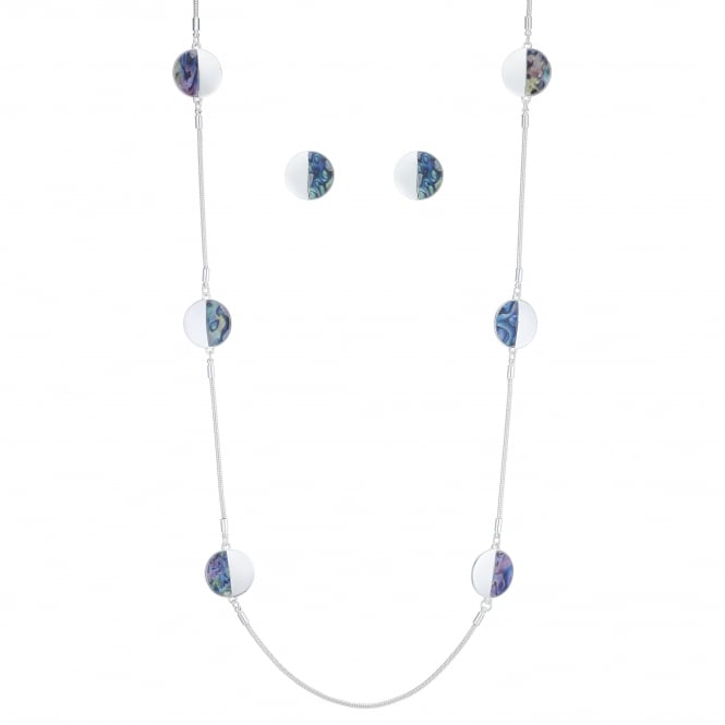 MOOD By Jon Richard Silver And Blue Disc Jewellery Set