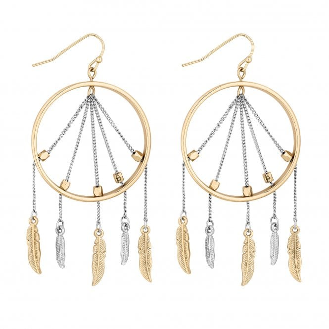 Multi Tone Dreamcatcher Drop Earring