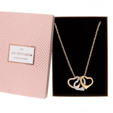 Multi tone heart charm necklace in a gift box