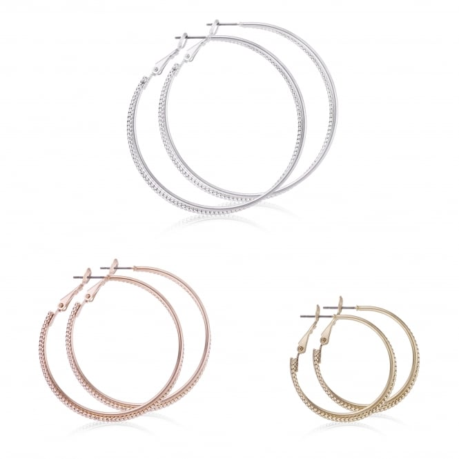Gold / Silver Hoop Earring Set