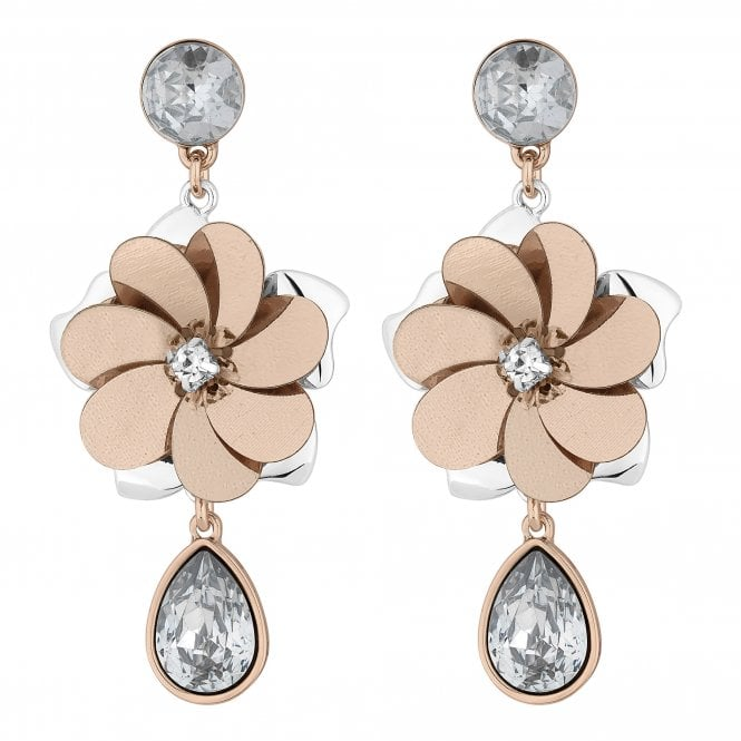 Multi Tone Sequin Floral Drop Earring