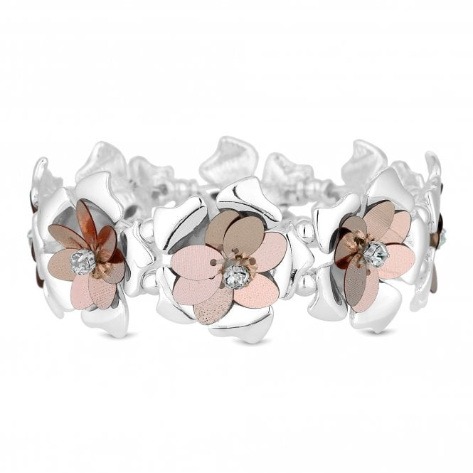 Multi Tone Sequin Floral Statement Bracelet