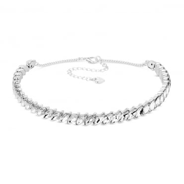 Silver Navette Crystal Choker Necklace