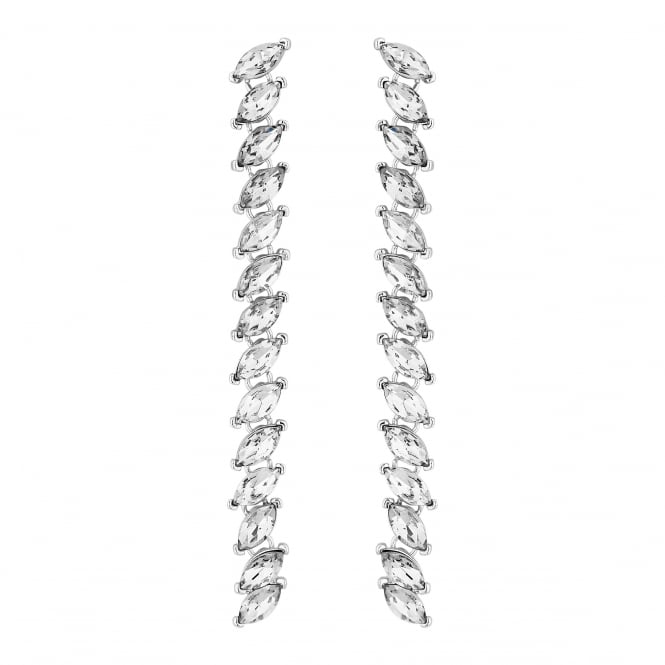 Silver Navette Crystal Drop Earrings