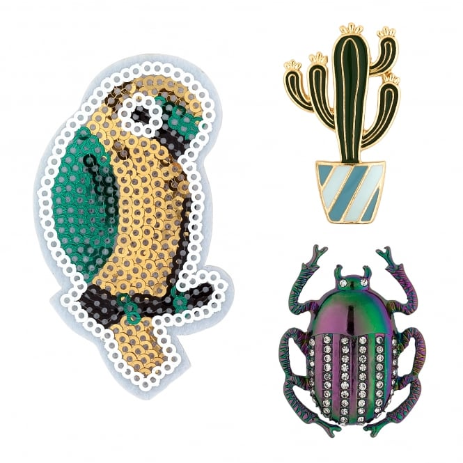 Green / Yellow/ Purple Novelty Pin Badge Set