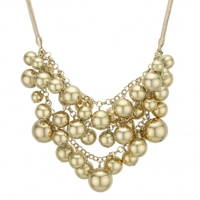 Gold Orb Cluster Statement Necklace