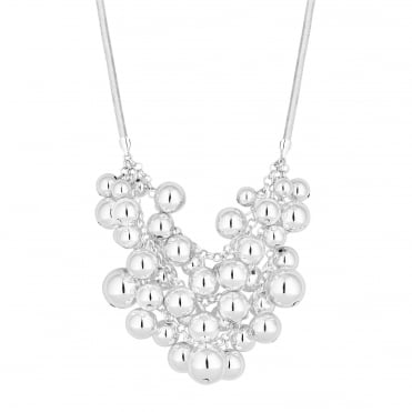 Silver Orb Cluster Statement Necklace
