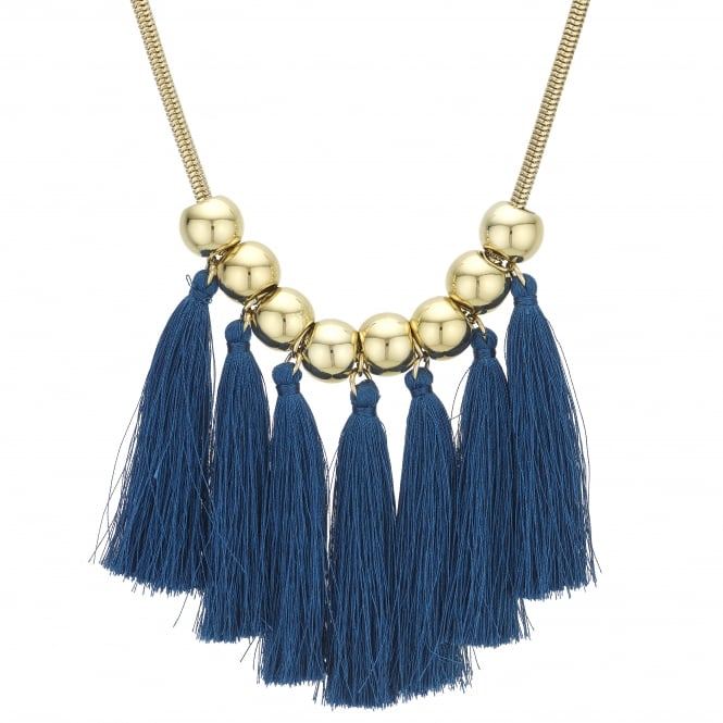 Gold Orb And Blue Tassel Statement Necklace