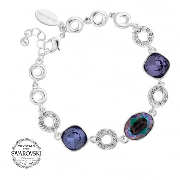 Oval crystal and pave circle bracelet MADE WITH SWAROVSKI CRYSTALS