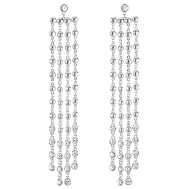 Silver Crystal Drop Statement Earring