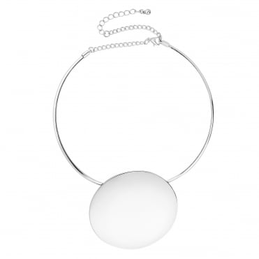 Oversized disc torque necklace