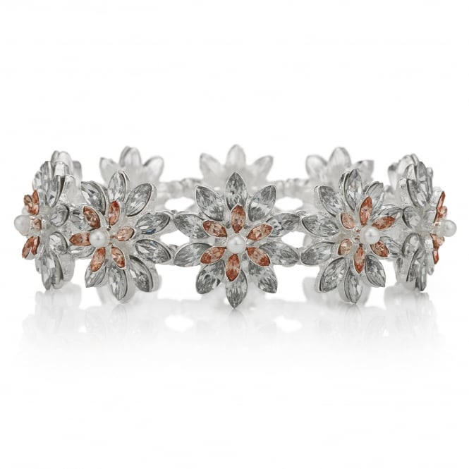 Silver Pink Pastel Crystal Stretch Bracelet