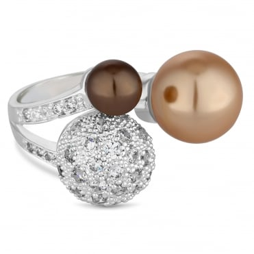 Pave and champagne pearl statement ring