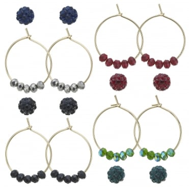 Pave ball and beaded hoop earring set
