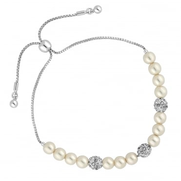 Pave ball and pearl toggle bracelet