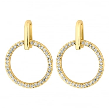 Pave circle earring