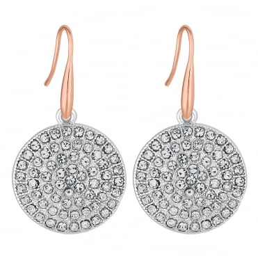 Pave disc drop earring
