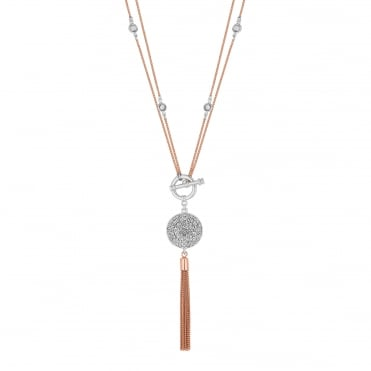 Pave disc tassel necklace