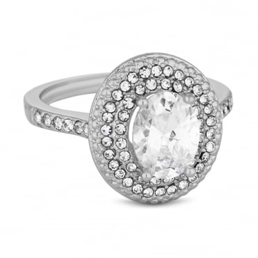 Silver Plated Cubic Zirconia Pave Halo Ring
