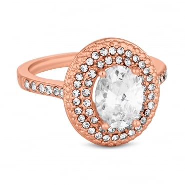 Rose Gold Plated Cubic Zirconia Pave Halo Ring