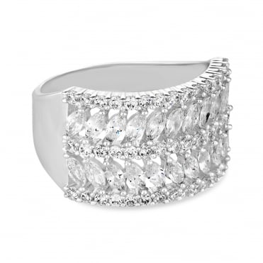 Silver Plated Cubic Zirconia Pave Leaf Ring