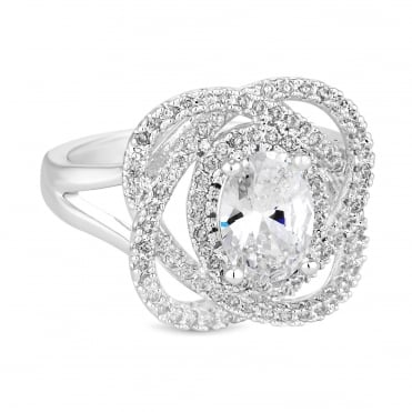 Silver Plated Cubic Zirconia Pave Loop Ring