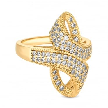 Gold Plated Cubic Zirconia Pave Loop Ribbon Ring