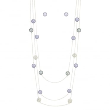 Purple Pave Orb And Pearl Jewellery Set