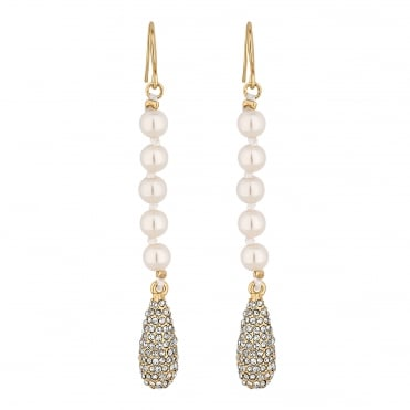 Pave peardrop and pearl drop earring