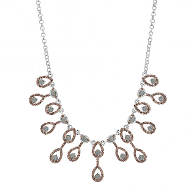 Pink Pave Crystal Peardrop Statement Necklace