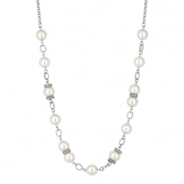 Pave pearl rope necklace