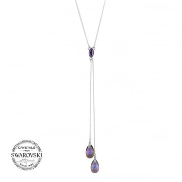 Peardrop lariat necklace MADE WITH SWAROVSKI CRYSTALS
