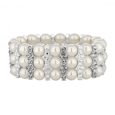 Silver Pearl And Crystal Bar Stretch Bracelet
