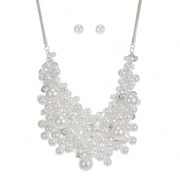 Pearl and crystal cluster jewellery set