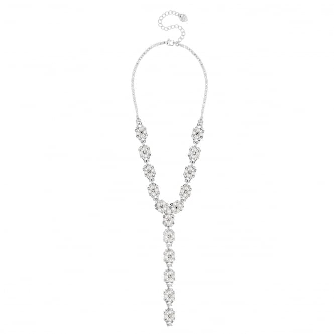 Silver Pearl And Crystal Y Drop Necklace