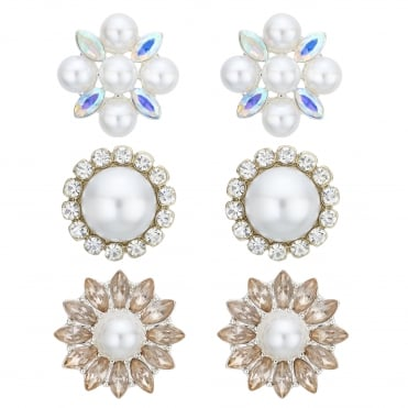 Silver Pearl And Crystal Stud Earring Set