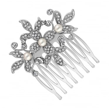 Pearl and crystal flower small hair comb