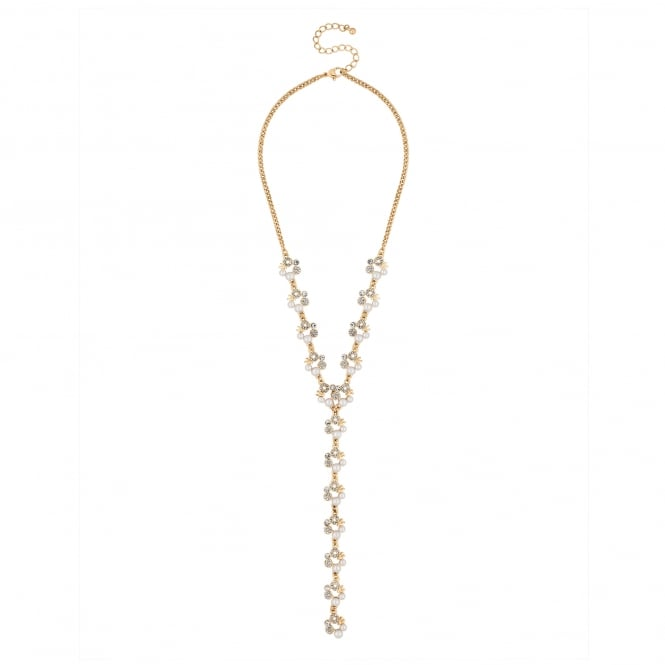 Gold Pearl And Crystal Hoop Y Drop Necklace